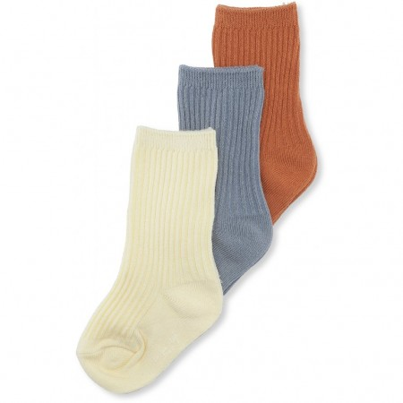 Konges Slojd 3 Pack Rib Socks Bisquit/Quarry Blue/Lemon Sorbet (Novelties)
