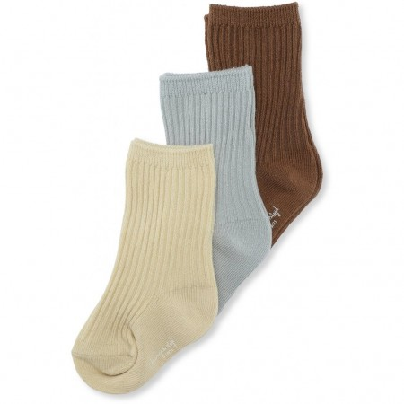 Konges Slojd 3 Pack Rib Socks Breen/Mint/Sahara Sun (Novelties)