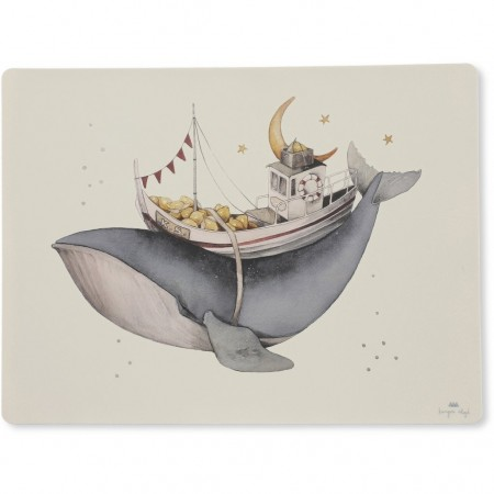 Konges Sløjd Placemat Bib Silicone - Nature/Whale (Silicon mats)