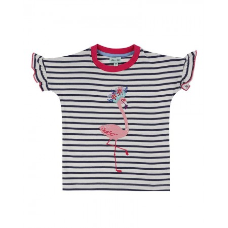 Lilly + Sid Applique Top- Flamingo 5-6 Years (Blouses)