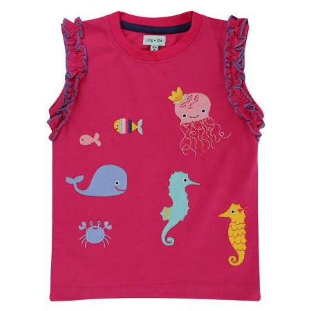 Lilly + Sid Applique Top- Sea Pals 2-3 Years (Blouses)