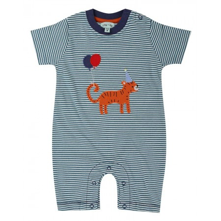 Lilly + Sid Applique Stripe Romper- Tiger (Slippers)