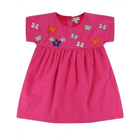 Lilly + Sid Embroidered Yoke Dress- Butterfly 2-3 Years (Dresses)