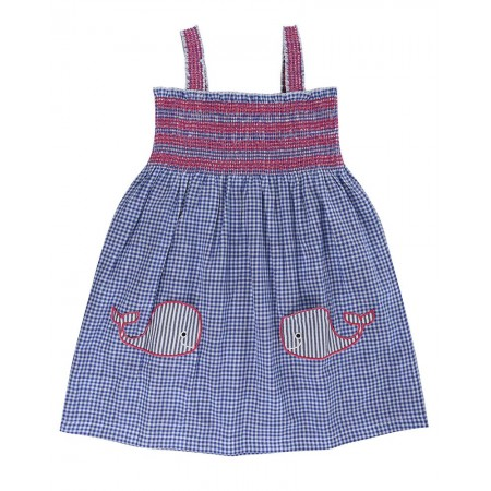 Lilly + Sid Reversible Sundress- Whale Pockets 3-4 Years (Dresses)