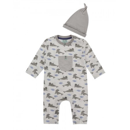 Lilly + Sid Seal Playsuit/Hat Set 3-6 Months (Slippers)