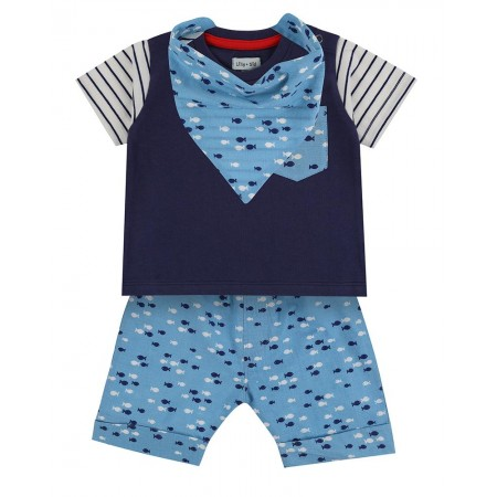 Lilly + Sid 3Pc Short Set- Fish 12-18 Months (Shirts)