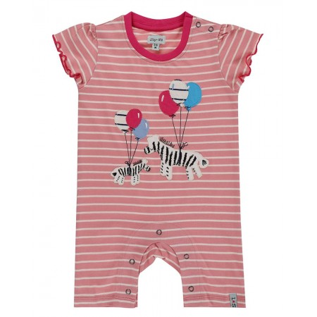 Lilly + Sid Zebra Romper 6-12 Months (Slippers)