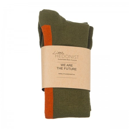 Little Hedonist Ribbed Tights Army Green-Orange Rust (Socks)