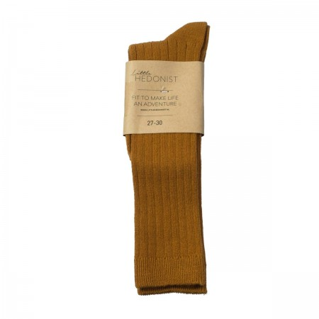 Little Hedonist Ribbed Kneesocks Ochre 19/22 (Socks)