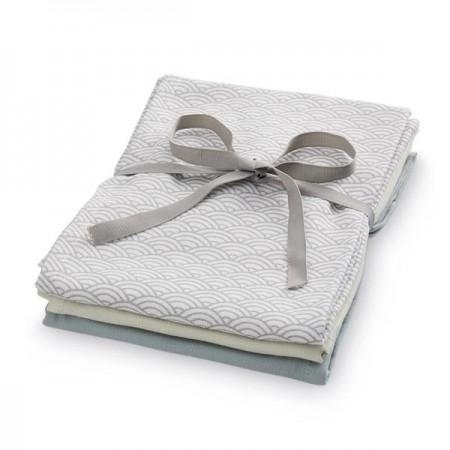 Camcam Muslin Cloth, Mix 3 Pack - Mix Grey Wave Medium, Petroleum, Mint (Novelties)