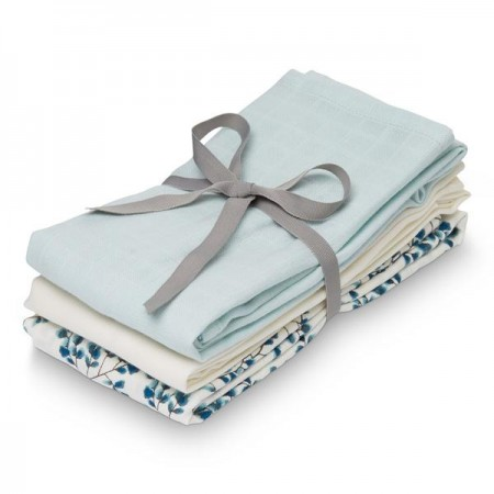 Camcam Muslin Cloth, 3-Pack - Mix Fiori, Light Blue, Cream White (Novelties)