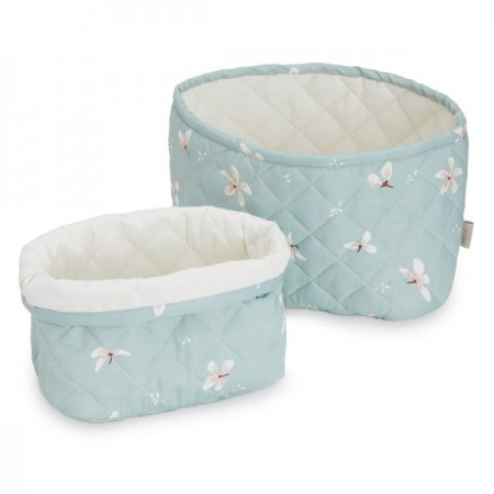 Camcam Quilted Storage Basket - Set Of Two - Winflower Blue (Novelties)