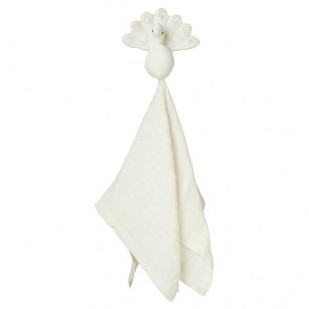 CamCam Cuddle Cloth, Muslin, Peacock Creme White (Muslin cloths)