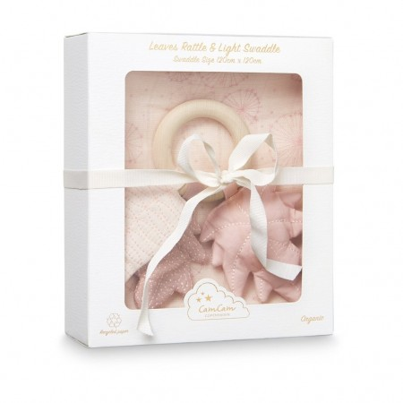 CamCam Gift Box W/ Printed Swaddle And Leaves Rattle Dandelion Rose (Muslin cloths)