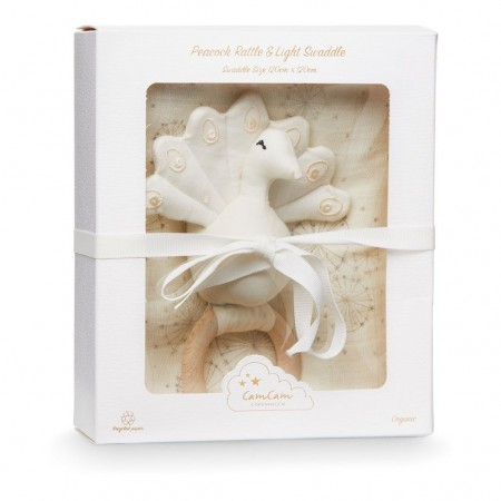 CamCam Gift Box W/ Swaddle And Peacock Rattle Dandelion Natural (Muslin cloths)