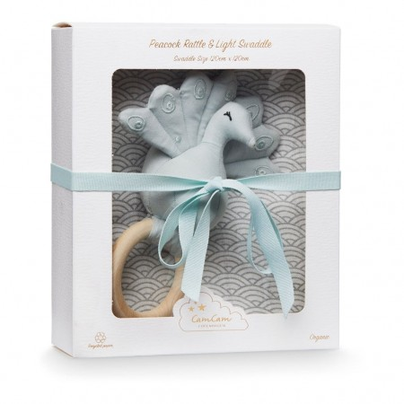 CamCam Gift Box W/ Swaddle And Peacock Rattle Grey Wave Medium (Muslin cloths)