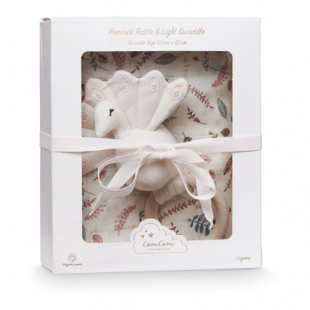 CamCam Gift Box W/ Swaddle And Peacock Rattle Pressed Leaves Rose (Muslin cloths)