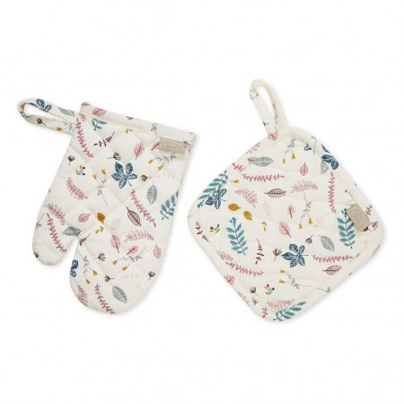 CamCam Kids Oven Glove + Pot Holder Play set - Pressed Leaves Rose (Chefs  accessories)