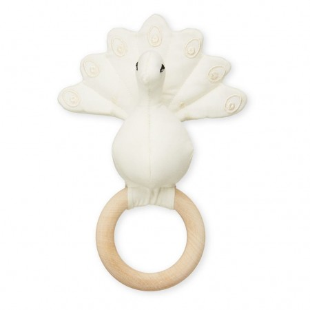 CamCam Rattle, Peacock W/ Maple Wood Ring Creme White (Teethers)