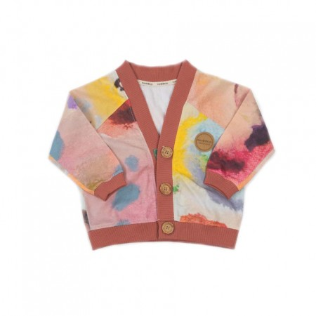 MimOOkids Close-Me Cardigan V-Neck, Garden Colours & Frambuesa Rib 2-3y (Sweaters)