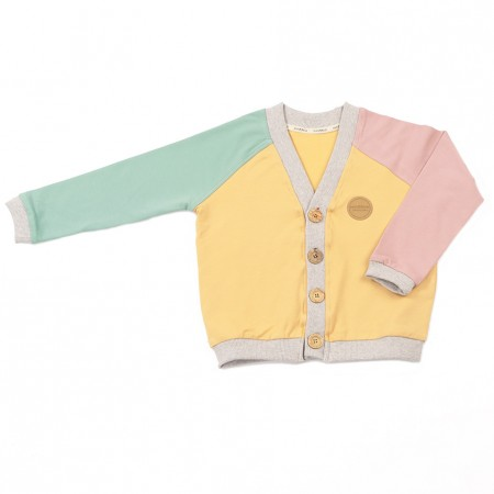 Mimookids Close-Me Cardigan V-Neck, Sand/Apple Green/Rose (Sweaters)