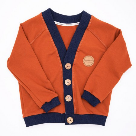 Mimookids Close-Me Cardigan V-Neck, Cinnamon/Denim Blue (Sweaters)