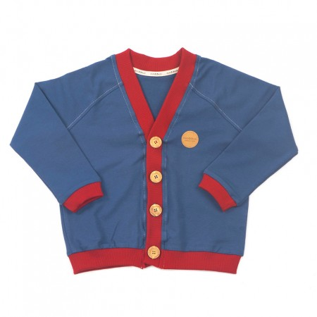 Mimookids Close-Me Cardigan V-Neck, Petrol/Chili Red
