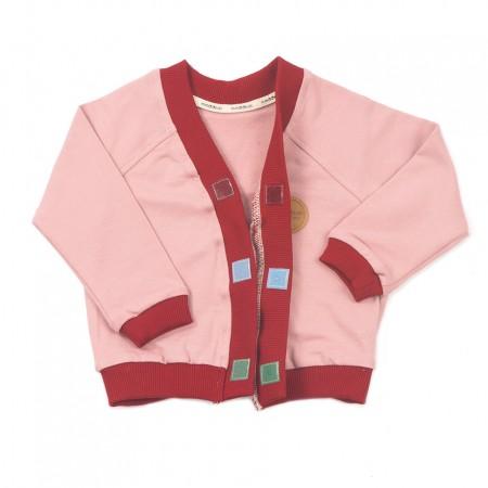 Mimookids Close-Me Cardigan V-Neck, Rose/Cinnamon (Sweaters)