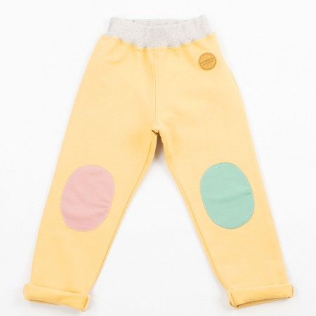 Mimookids Pull-Me-Up Pant, Sand/Apple Green/Rose