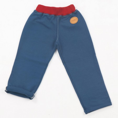 Mimookids Pull-Me-Up Pant, Petrol/Chili Red