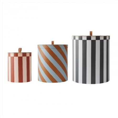 OYOY Storage Box - Round - Stripe - Set of 3 (Novelties)