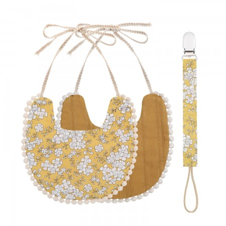 That s Mine Double-sided bib with pacifier strap, Ochre (Bibs)