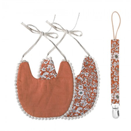 That's Mine Double-sided bib with pacifier strap, Terracotta