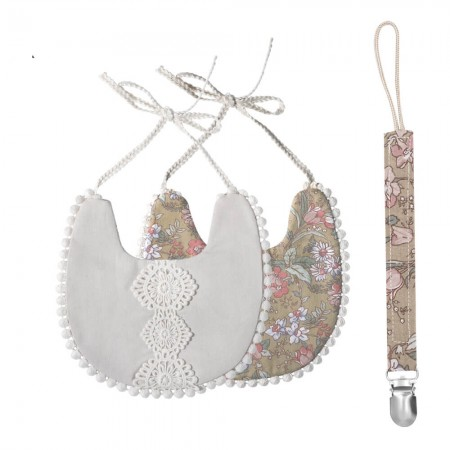 That's Mine Double-sided bib with pacifier strap, Warm grey
