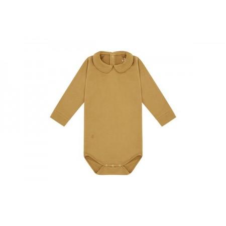 Vild LS Bodysuit, Camel Collared 12-18m