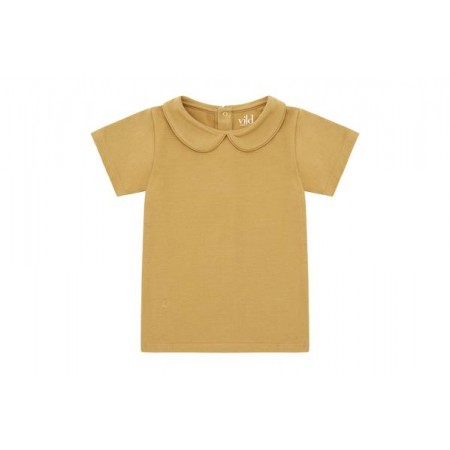 Vild SS Shirt, Camel Collared 4-5y